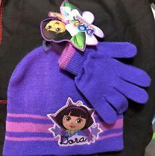 Dora The Explorer 2 pc purple pink children girls knit cap beanie and glove set