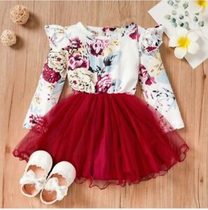 size 3-6m to 18-24 months new baby girls dress red floral longsleeve tulle dress