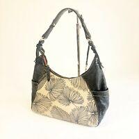 Brahmin Tan Black Canvas Leather Palm Leaf Tahiti Shoulder Hobo Bag Womens