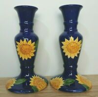 Royal Norfolk Pair of Candlesticks Dark Blue Sunflowers Staffordshire Pottery