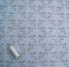 Beige & Taupe Bird & Leaf 100% Linen Dressmaking Fabric * By The Half Metre *
