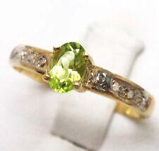 SYJEWELLERY 9CT YELLOW GOLD NATURAL OVAL PERIDOT & DIAMOND RING SIZE N R1494