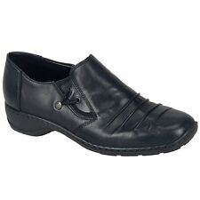 Rieker 58353 Ladies Womens Leather Slip on Comfy Office Casual Smart Shoes Black 38