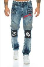 KOSMO LUPO Herren Jeans Hose Denim Dual Zippers Biker Japan Style  NEU! KM193