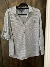 Tommy Hilfiger Womens Tunic Heather Bluish-Gray And White Striped Size XL NWOT