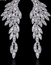 BNWT- Feather Wing Dangle Statement Earrings - Silver Plated & Austrian Crystals
