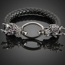 Fashion Dragon Ring Man Braid Bracelet Leather Band Bangle Black Cool Boy Cuff