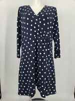 New Loft Faux Wrap Dress Polka Dot Navy Blue White Size 20W Plus Stretch