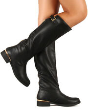 Qupid Turner-07 New Women Leatherette Round Toe Buckle Knee High Riding Boot
