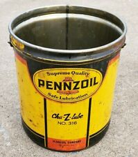 Vintage Pennzoil Cha-Z-Lube #316 Metal 5 Gallon Grease Bucket Can No Lid Empty