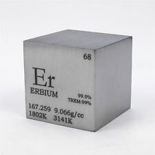 1 inch 25.4mm Varnished Erbium Metal Cube 99.9% 148grams Engraved Periodic Table