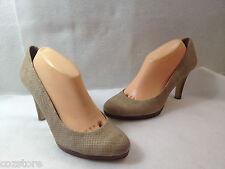 Bandolino Snake Print Leather Pumps Shoes High Heel Platform Beige Size 10 M