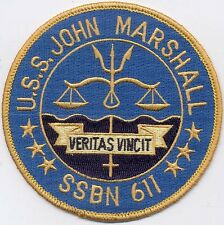 USS John Marshall SSBN 611 - Veritas Vincit - Submarine - BC Patch Cat. No. B436