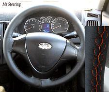 Per HYUNDAI COUPE 1999-08 VERA PELLE NERA Volante Copertura cuciture color arancio