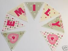 GIRLS PERSONALISED BUNTING VINTAGE Style GREEN+CREAM floral- £2.50/lettered flag