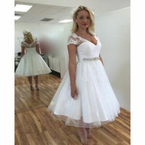 New V-neck White/Ivory Lace Tea Length Wedding Dress Stock Size 6 8 10 12 14 16
