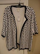 NWT Chico's Sandra Polka-Dot Cardigan.Black/White Size:3 (16/18,L).Gorgeous!