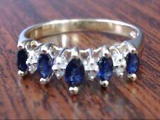MARQUISE SAPPHIRE DIAMOND ANNIVERSARY RING BAND 10K GOLD 2.4g SIZE 7 (GP1013472)