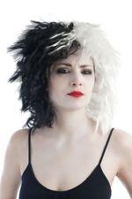 Perruque Cruella noir et blanc dalmatien deguisement carnaval 101 d'enfer Cinéma