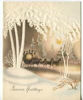 VINTAGE CHRISTMAS WHITE TREES EMBOSSED SEPIA VICTORIAN HORSES CARRIAGE RIDE CARD