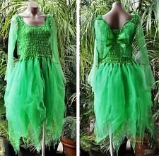 Women's Fairy Dress Costume with Sleeves & Wings - Forest Green Tinkerbell