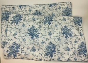 2 LAURA ASHLEY Lifestyles SOFIA Blue FLORAL King Sized PILLOW CASE Shams COVER