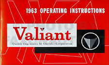 1963 Plymouth Valiant Owner Manual 63 NEW Owner Guide Hand Book V100 V200 Signet