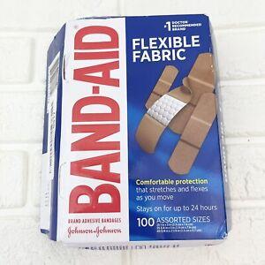 100 Ct Johnson & Johnson Band-Aid Brand Flexible Fabric Adhesive Bandages NEW