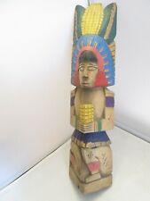 Statuette en bois - vieux mexicain sculpté à la main - art populaire design 45cm