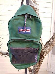 Vintage 90's Jansport Green Canvas Student Medium Backpack.