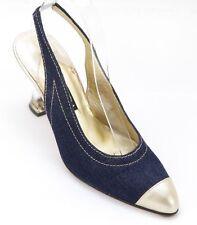 ESCADA Pump Blue Leather Slingback Gold Resin Heel Shoe 7B VINTAGE