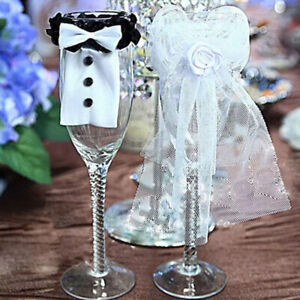 2pcs Wedding Party Decoration Bride Groom Costume Wedding Glass Wine Glass Cover