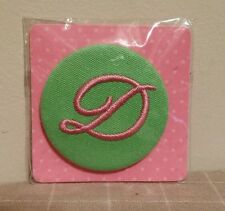 Monogrammed Initial Button Pin Letter D Pink on Green Button Up Two's Company
