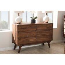 ierra Mid-Century Modern Brown Wood 6-Drawer Dresser