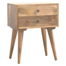 Modern Rustic Hand Crafted Scandinavian Style Solid Wood 2 Drawer Bedside Table