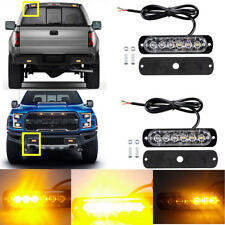 2X 6LED Amber Recovery Flash Emergency Hazard Warning Strobe Light Bar For F150