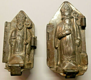Antique 3D Tin Hinged St. Nick Candy Molds Complete  4 ½T and 3 ½T Lot of 2 (P2)