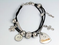 Genuine Braided Leather Charm Bracelet With Name - YASMIN - Gifts for her
