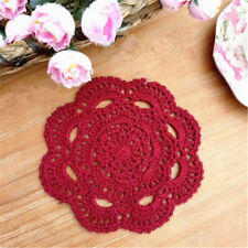 Handmade Round Crochet Cotton Table Cup Mats Placemats Doilies Coasters 16cm Wine Red