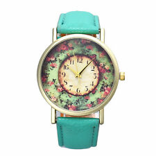 Women Pastorale Floral Women Leather Band Analog Quartz Dial Wrist Watch US