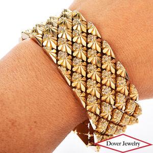 Vintage 18K Gold Elegant Wide Flower Detail Mesh Link Bracelet 63.0 Grams NR