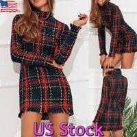 US Women Turtleneck Check Plaid Sweater Dresses Tassel Bodycon Casual Mini Dress