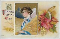 Antique Vintage early 1900's Postcard Thanksgiving Victorian girl  holding Wheat