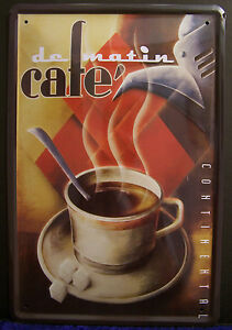 Cafe Matin Coffee 4 5/16in x 3 1/8in Tin Sign