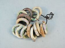 """Antique Primitive Wood Curtain Drapery Rings Lot 15 Chipping Paint 2 1/4"""" Shabby"""