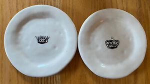 "Rae Dunn Magenta Boutique CROWN 6"" Plates RETIRED (Set of 2)"