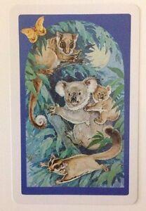 Vintage Australian Animal Swap Card, Koala Possum Flying Fox, Marsupials