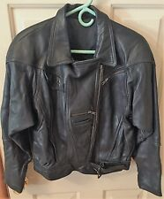 Men's Fox Run Black Fully Lined Motorcycle Leather Jacket – S, Solid