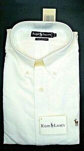 NWT Long Sleeve Button Down White Shirt Ralph Lauren 100 %Cotton  Logo