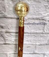 Designer Victorian Globe Walking Stick Brown Wooden Brass Inlaid Cane Antique
